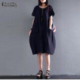 ราคา Zanzea Women Retro Striped Buttons Pockets Summer O Neck Short Sleeve Cotton Linen Loose Midi Dress Baggy Vestido Plus Size Navy Intl