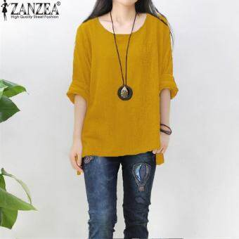 ZANZEA ผู้หญิงรอบคอเสื้อยืดหลวมเสื้อเสื้อจัมเปอร์พลัสขนาด (สีม่วง)-