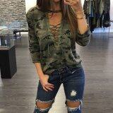 ทบทวน Zanzea Women S*xy Blouses Shirts Ladies Long Sleeve Hollow Out Lace Up V Neck Blusas Casual Fashion Camouflage Print Tops Intl Zanzea