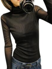 ราคา Zanzea เต่าคอผู้หญิงผอมบางเซ็กซี่ Gauze เสื้อเชิ้ตแขนยาวกระโปรงเสื้อ สีดำ เป็นต้นฉบับ