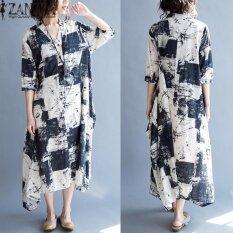 ราคา Zanzea Women Summer V Neck Buttons Short Sleeve Tunic Baggy Dress Retro Floral Printed Mid Calf Dress Vestido Plus Size L 5Xl Intl ใหม่
