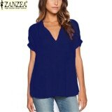 ส่วนลด Zanzea Women Summer V Neck T Shirt Casual Short Sleeve Chiffon Top Lady Loose Blouse Blue Intl Zanzea