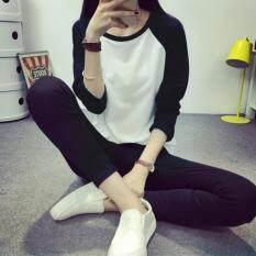 ราคา Zanzea Women T Shirt Autumn Ladies Casual O Neck Long Sleeve Patchwork Tee Shirt Loose Solid Tops Black Intl เป็นต้นฉบับ Zanzea
