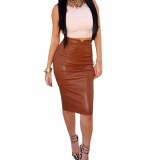 ราคา Zanzea Women Winter Spring S*xy Faux Leather High Waist Slim Pencil Skirt Coffee ใหม่ล่าสุด