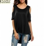 ซื้อ Zanzea Women S Short Sleeve Shirt Cut Out Irregular Hem Loose Tee Shirts Cold Shoulder T Shirt Black Intl Zanzea ออนไลน์