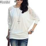 ส่วนลด Zanzea Women S Casual Batwing Loose Lace Long Sleeve Tee Shirt Blouse Top Size White Intl