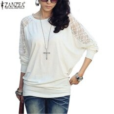 ซื้อ Zanzea Women S Casual Batwing Loose Lace Long Sleeve Tee Shirt Blouse Top Size White Intl Zanzea เป็นต้นฉบับ