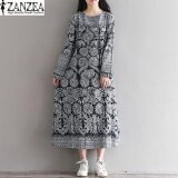 ซื้อ Zanzea Women S Long Sleeve Crewneck Oversized Long Maxi Dress Baggy Party Kaftan(Floral) Intl ถูก จีน