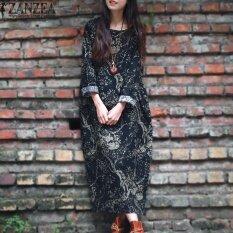 ซื้อ Zanzea เสื้อแขนยาวผู้หญิงหลวมสบายๆดอกไม้พิมพ์ยาวแม็กซิชุด Kaftan กองทัพเรือ นานาชาติ Zanzea ถูก