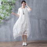 ราคา Zanzea Womens Short Sleeve Beach Party Solid Cotton Midi Dress Summer Asymmetrical Hem Flower Lace Crochet(White) Intl Zanzea ใหม่