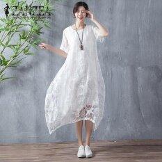 โปรโมชั่น Zanzea Womens Short Sleeve Beach Party Solid Cotton Midi Dress Summer Asymmetrical Hem Flower Lace Crochet(White) Intl ถูก