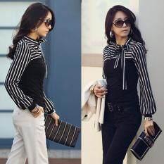 ราคา Zanzea โปโลผู้หญิงแขนเสื้อยาวลายคอเสื้อพ่นสีดำ Thailand
