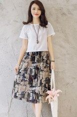 ราคา ชุดเซ็ท เสี้อคอกลม เดรสแขนสั้น Zashion Set Of 2 Summer Shortsleeves Top And Pocketed Drawstring Midi Skirt ออนไลน์