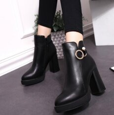 Zh Korean Female Boots Martin Boots With Thick High Heeled Boots With Thick Bottom Head Black Intl ถูก