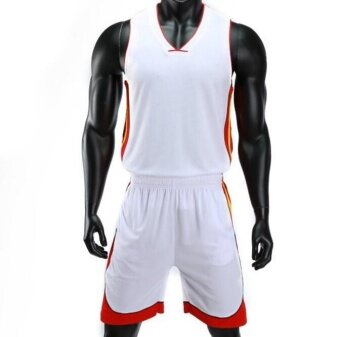ZH Men's Double Pocket Basketball Suit Kit For The Jersey Match White