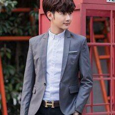 โปรโมชั่น Zh Shopping Han Edition Cultivate One S Morality Men S Suits Grey Intl ใน จีน