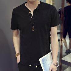 Zh Shopping Men S Cotton And Linen Restoring Ancient Ways Is Half Sleeve Shirt Black Intl ใน จีน