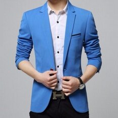 ราคา Zh Shopping Men S Korean Youth Small Suit Coat Of Cultivate One S Morality Blue Intl ที่สุด