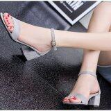 ซื้อ Zh Shopping Ms Buckles Thick With Fish Mouth High Heeled Shoes Grey Intl ออนไลน์ จีน