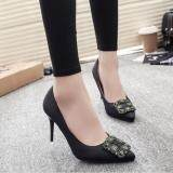 โปรโมชั่น Zh Shopping Ms Fine With Low For Shallow Mouth Diamond Satin Heels Black Intl Unbranded Generic ใหม่ล่าสุด