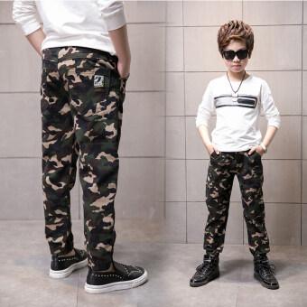 Review Zhongda กางเกงสบายๆกางเกงลายพรางเด็กชายยาว (กองทัพสีเขียว)
