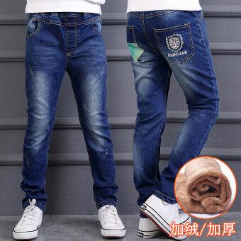 Zhongda กางเกงลำลองเกาหลีกางเกงยีนส์ฤดูใบไม้ผลิและฤดูใบไม้ร่วงใหม่เด็ก (G02 บวกกำมะหยี่รุ่น)
