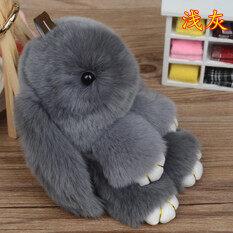 โปรโมชั่น เล่นตายกระต่ายพวงกุญแจที่ทำจากขนสัตว์จริงถุงกระต่าย สีเทาอ่อน