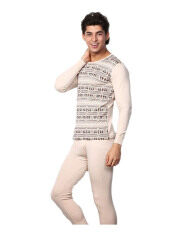 ขาย Zigzagzong Men S 2Pcs Set Cotton Sleepwear Thermal Underwear Thin Long Beige ออนไลน์ จีน