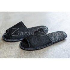 (BF-001) Zircon Slippers รองเท้าสลิปเปอร์ ผ้าฝ้าย ใส่ในอาคาร สีดำถ่าน