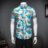 ราคา Zmgang Men Floral Slim Fit Short Sleeve Beach Turn Down Collar Casual Shirt Intl Zmgang ใหม่
