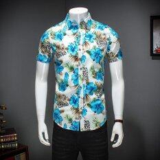 ซื้อ Zmgang Men Floral Slim Fit Short Sleeve Beach Turn Down Collar Casual Shirt Intl ออนไลน์