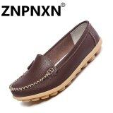 ขาย ซื้อ Znpnxn Fashion Leather Casual Shoes Shallow Mouth Flat Nurse Little White Shoes Female Anti Skid Shoes(Brown) Intl