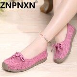 ความคิดเห็น Znpnxn Fashion Leather Mocassins Loafers Shoes Hollow Casual Shoes Pink Intl Intl