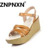 ซื้อ Znpnxn Fashion Women S Wedge Sandals Leisure Casual Shoes (Brown) Intl Znpnxn เป็นต้นฉบับ