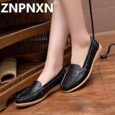 ขาย Znpnxn Women Shoes Flat New Leather Platform Shoes Fashion Casual Shoes สีดำ Intl ถูก จีน