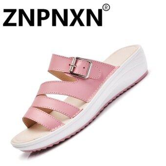 รองเท้าหนังนิ่มรองเท้าแตะสตรีรองเท้าแตะสตรีลื่นรองเท้าแตะ (สีชมพู)-สนามบินนานาชาติ