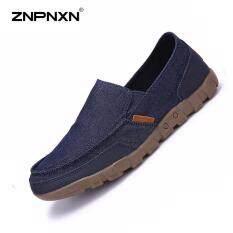 ส่วนลด Znpnxn รองเท้าผู้ชายรองเท้าผ้าใบรองเท้าลำลองรองเท้าบุรุษรองเท้าลื่นรองเท้าผู้ชายรองเท้าสบายๆรองเท้าคัทชู Sapato Masculino ขนาด 38 48 หลา สีน้ำเงินเข้ม นานาชาติ Znpnxn ใน จีน