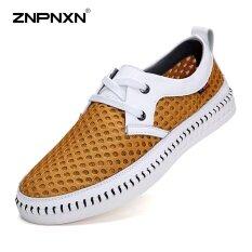 ขาย Znpnxn Men S Shoes Leather Cloth Mesh Breathable Shoes Shoes Soft Bottom Shoes Comfortable And Breathable Mens Shoes Casual Sapato Masculino Size 38 44 Yards Yellow Intl Znpnxn ใน จีน
