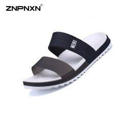 ขาย Znpnxn รองเท้าบุรุษรองเท้าฤดูร้อน Flip Flops รองเท้าแตะเยลลี่ แฟชั่นลำลองรองเท้าชายหาดรองเท้าบุรุษขนาด 40 45 หลา สีดำ ถูก