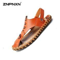 โปรโมชั่น Znpnxn Men S Shoes Pure Hand Made Cowhide Sandals In Summer Soft Leather Shoes Face Mens Shoes Casual Luxury Sapato Masculino Size 38 44 Yards(Red Brown) Intl จีน