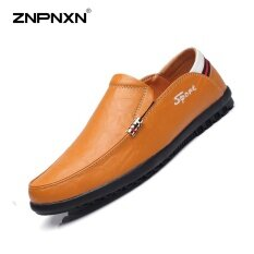 ขาย Znpnxn Men S Shoes Two Layer Leather Leather Shoes Black Slip On Shoes Mens Shoes Genuine Leather Chaussure Homme Size 38 44 Yards Yellow Intl Znpnxn ใน จีน
