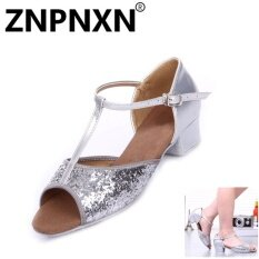 โปรโมชั่น Znpnxn New Children Latin Dance Shoes Children S Dance Shoes Sequins With Girls Latin Shoes Children Practice Shoes Sliver Intl ใน จีน