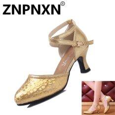 Znpnxn กางเกงยีนส์เด็กผู้ใหญ่รองเท้าละตินรองเท้าผู้หญิงการสื่อสารเต้นรำรองเท้าฤดูร้อนใหม่ ทอง นานาชาติ เป็นต้นฉบับ