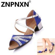 ขาย Znpnxn ฤดูร้อนเด็กใหม่รองเท้าเต้นรำภาษาละตินรองเท้าหนังนุ่มหนังรองเท้าเต้นรำหญิงระบายอากาศได้รองเท้าเต้นรำ น้ำเงินและ Sliver นานาชาติ Znpnxn เป็นต้นฉบับ