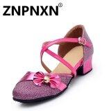 Znpnxn ฤดูร้อนสาวใหม่รองเท้าเต้นรำละตินรอบต่ำกับรองเท้าละตินรองเท้าเด็กน่ารัก กุหลาบ นานาชาติ เป็นต้นฉบับ
