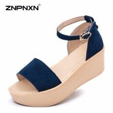 โปรโมชั่น Znpnxn The New Summer Breathable Fingerless Sandals Thick Soles Muffin Increased Fashion Shoes Zapatos Mujer Dark Blue) Intl ใน จีน
