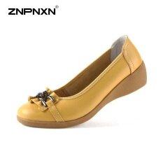 โปรโมชั่น Znpnxn รองเท้าส้นเตารีดรองเท้าส้นเตี้ยรองเท้าหนังแท้รองเท้าสบายๆด้านล่างรองเท้าสตรี สีเหลือง สนามบินนานาชาติ