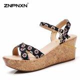 ราคา Znpnxn รองเท้าผู้หญิงแพลตฟอร์มรองเท้าฤดูร้อนรองเท้าส้นสูงรองเท้าแตะรองเท้าแตะ Chaussure Femme สีดำ นานาชาติ
