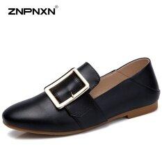 ราคา ราคาถูกที่สุด Znpnxn Women S Shoes Korean Flat Casual Fashion Shoes Soft Bottom Flat With Students Small Leather Shoes Zapatos Mujer Black) Intl