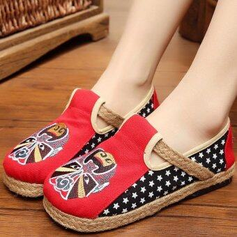 ZNPNXN Women's Thailand Shoes Straw shoes Flat Heel ShoesMocassinsLoafers(Red)